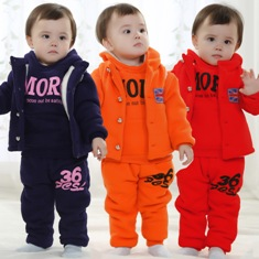 Size 1 2Y High Quality Clothing Set Baby Winter Boy Girl Sports Suit Outdoor Unisex Hoodies